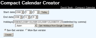 compact calendar を自動作成できるサイト k conf