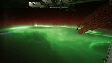 Aurora seen from the ISS in Orbit