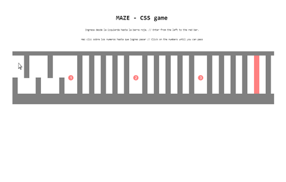 CSSで実装されたごくシンプルなイライラ棒ゲーム『MAZE』
