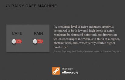 集中力アップのための適度な雑音を流してくれるサイト『Rainy Cafe』