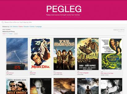 YouTubeで公開されているフルバージョンの映画を集めたサイト『Pegleg』