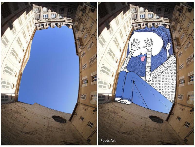 建物の間から覗く空に絵を描く創造性豊かな落書きアート