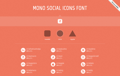100のソーシャルアイコンを収めたセマンテックなWebフォント『Mono Social Icons Font』