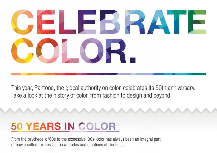 Pantone50周年にちなみ作られた過去50年の流行色のインフォグラフィックス