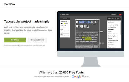 優れた操作性でフリーなWebフォントの選別作業が行えるサイト『FontPro』