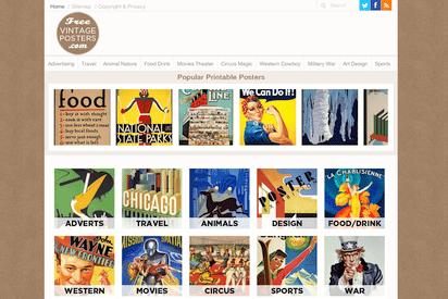 時代物のレトロなポスター画像を取り揃えたサイト『FreeVintagePosters.com』
