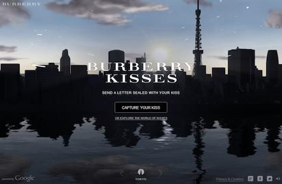 キスで封をしたメールを愛する人へ届けてくれるサイト『Burberry Kisses』