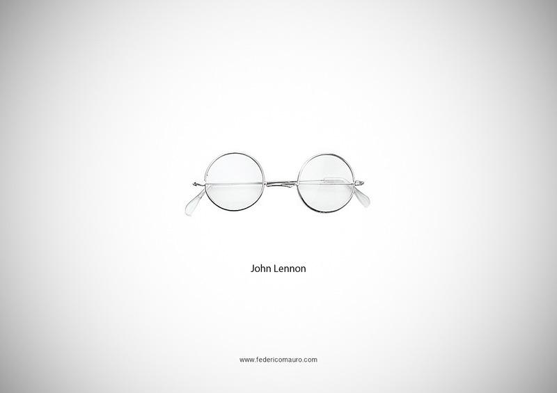 有名人を連想させる象徴的なメガネのグラフィックアート