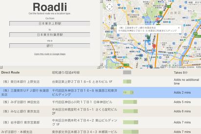 寄り道場所へ最もタイムロスの少ないルートを教えてくれるサイト『Roadli』