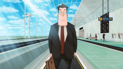 空港内で起こったビジネスマンの災難をコミカルに描いたショートアニメ