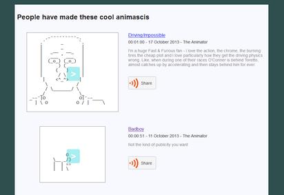 アニメーション化したアスキーアート専門の投稿サイト『Animasci』