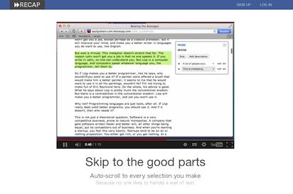 ページ内の重要文章をマーキングしインデックスできる便利ツール『Recap』