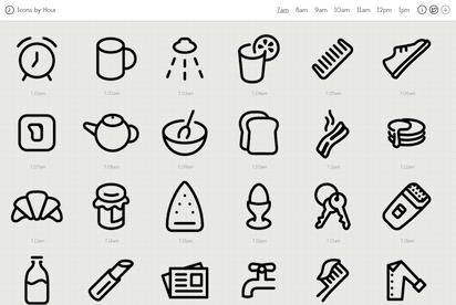 それぞれの時刻に関連したアイコンを制作するプロジェクト『Icons by Hour』