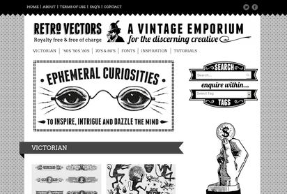 ヴィンテージなイラスト素材を専門にした配布サイト『Retro Vectors』