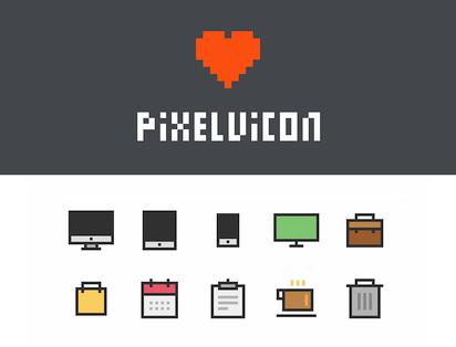 ピクセルを強調した直線的なシェイプが印象的なアイコンセット『Pixelvicon』