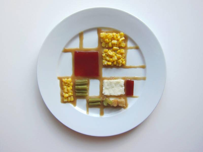 著名な芸術家たちの作風で感謝祭の一皿を表現したアート作品