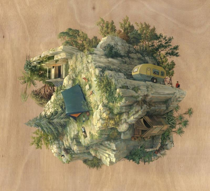 重力の概念から解き放たれた超現実的な世界を描いた絵画作品